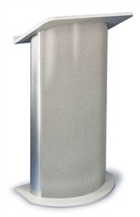 Gray Granite with Satin Anodized Aluminum Curved Lectern