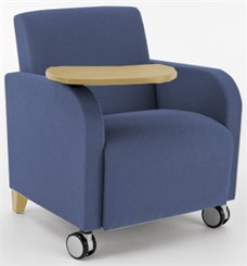 Siena Guest Chair w/ Casters & Swivel Tablet in Standard Fabric or Vinyl