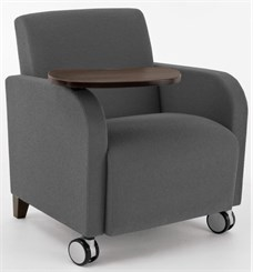 Guest Chair w/ Casters & Swivel Tablet in Upgrade Fabric or Healthcare Vinyl