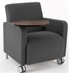 Guest Chair w/ Casters & Swivel Tablet in Standard Fabric or Vinyl