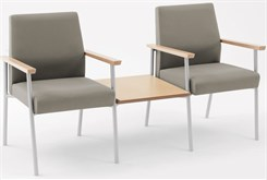2 Chairs w/ Connecting Center Table in Upgrade Fabric or Healthcare Vinyl