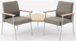 2 Chairs w/ Connecting Corner Table in Upgrade Fabric or Healthcare Vinyl