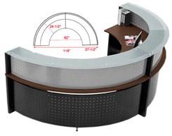 1/2 Round Glass Top Reception Desk