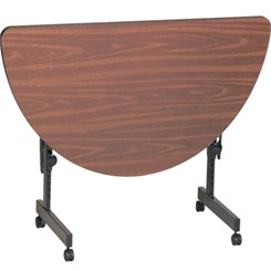 "24"" x 48"" Half Round Adjustable Height Flip Top Table"