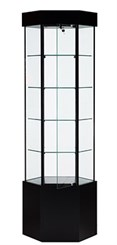 QuickShip Hexagonal Tower Display Case with Base