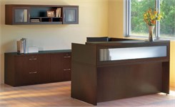Reception Desk with Textured Glass Panel