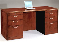 Kneehole Credenza w/Box/Box/File Drawer Pedestals