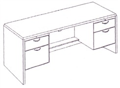 Kneehole Credenza with Box/File Drawer Pedestals