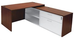 Cherry Manager's L-Desk w/Slide Out Return