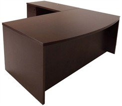 Espresso L-Shape Conference Desk w/Drawers