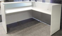L-Shape White Salon Desk