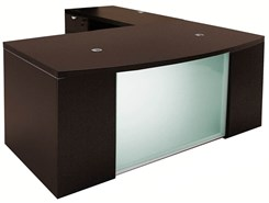 Glass Front Mocha Conference L-Shaped Desk