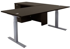Electric Lift Height Adjustable L-Shaped Desk w/ Height Adjustable Executive Main Desk