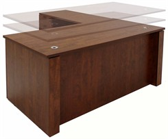 Adjustable Height L-Shaped Executive Office Desk in Cherry
