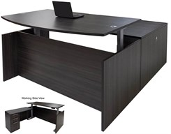 Charcoal Adjustable Height Bow Front L-Shaped Desk