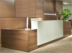 Contrasts Custom L-Shaped Lobby Desk, Right Return