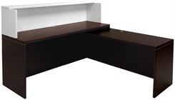 Mocha/White Shallow Depth L-Shaped Reception Desk with Slide Out Return