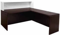 "Mocha/White 71"" L-Shaped Reception Desk with Desk Height Return"
