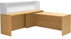 Maple/White Shallow Depth L-Shaped Reception Desk with Slide Out Return