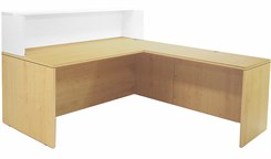 "Maple/White 71"" L-Shaped Reception Desk with Desk Height Return"