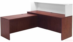 Cherry/White Shallow Depth L-Shaped Reception Desk with Slide Out Return
