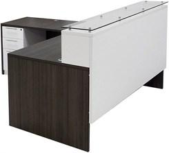 "71""W Emerge Glass Top L-Shaped Reception Desk w/Drawers"