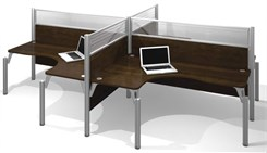 Open Side Quad L-Shaped Workstation w/Acrylic Glass