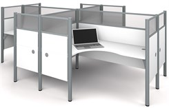 Enclosed Quad L-Shaped Workstation w/Acrylic Glass