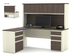 L-Shaped Desk w/ Hutch & 2 Box/Box/File Sets