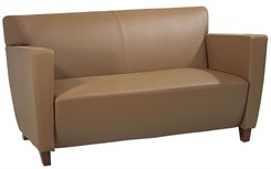 Office Star SL8872 Taupe Leather Love Seat