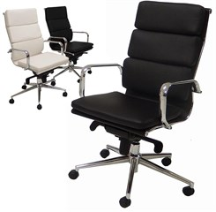 Leather Soft Pad High Back Chair in Black or White