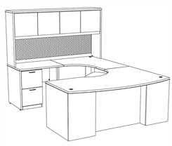 "Transitions 72"" Custom U-Shape Desk w/ Hutch, Left Bridge"