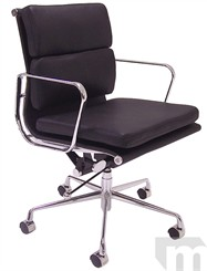 Leather Soft Pad Management/Conference Chair in Black