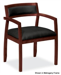 Leather & Wood Guest Chair w/Upholstered Back