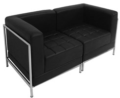 Black Tufted Modular 2-Seat Loveseat