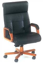 Matching Black Leather & Cherry Conference Chair