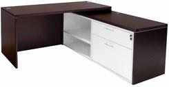 Mocha Manager's L-Desk w/Slide Out Return