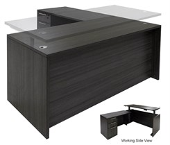 Charcoal Adjustable Height Manager's L-Shaped Desk