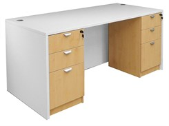White & Woodgrain Rectangular Managers Desk w/6 Drawers