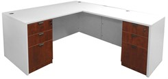 White & Woodgrain L-Shaped Rectangular Managers Desk w/6 Drawers