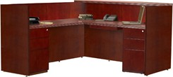 Maple or Cherry Veneer L-Shaped Desk w/ Drawers