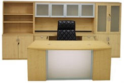 Glass Front Maple Office Furniture 6-Piece Suite