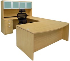 Maple Conference U-Shaped Workstation with Hutch