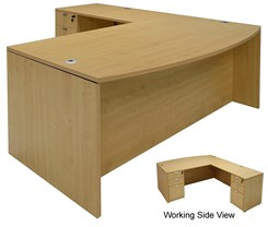 Maple L-Shaped Bow Front Conference Desk w/6 Drawers