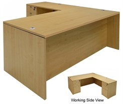 Maple L-Shaped Rectangular Executive Desk w/6 Drawers