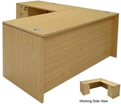 Maple L-Shaped Rectangular Managers Desk w/6 Drawers