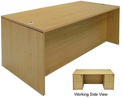 Maple Rectangular Executive Desk w/6 Drawers