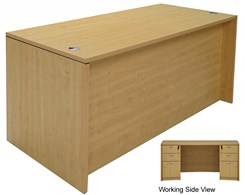 Maple Rectangular Managers  Desk w/6 Drawers