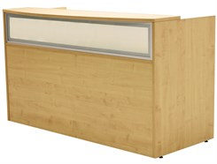 Maple Rectangular Reception Desk w/Frosted Glass Panel