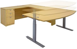 Electric Lift Adjustable Height Maple U-Desk